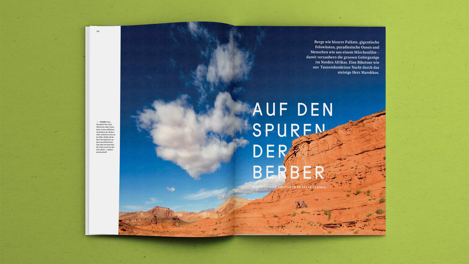 Fullsize photography spread of a story in the Outdoor Guide Magazine