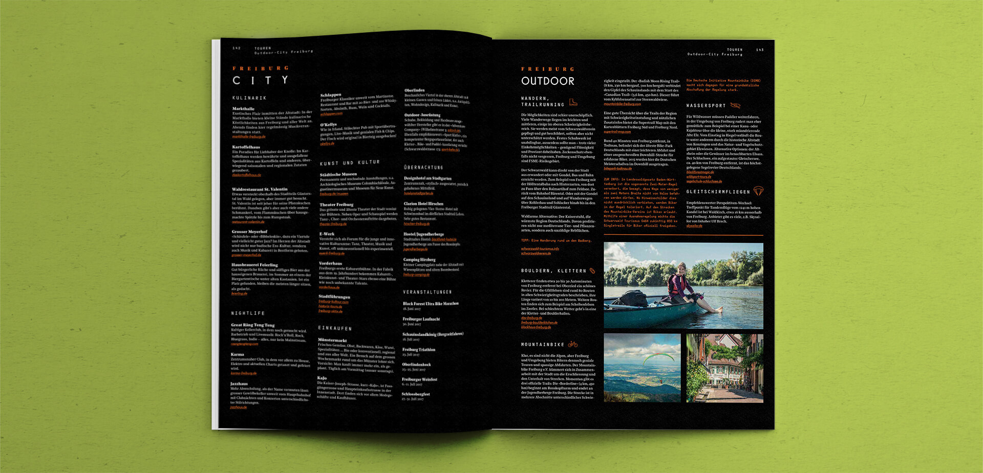 Spread of a story in the Outdoor Guide Magazine
