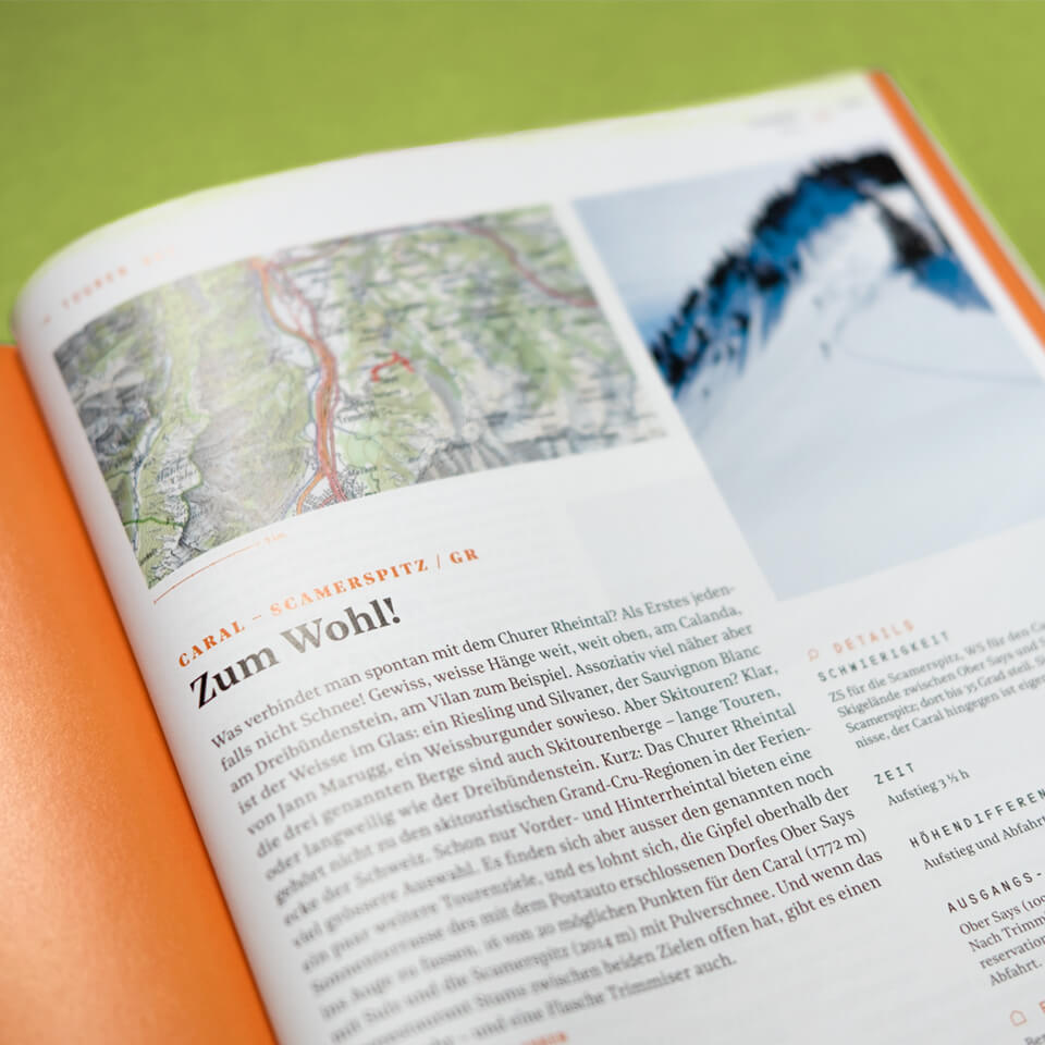 Closeup of a Spread inside of the Outdoor Guide Magazine