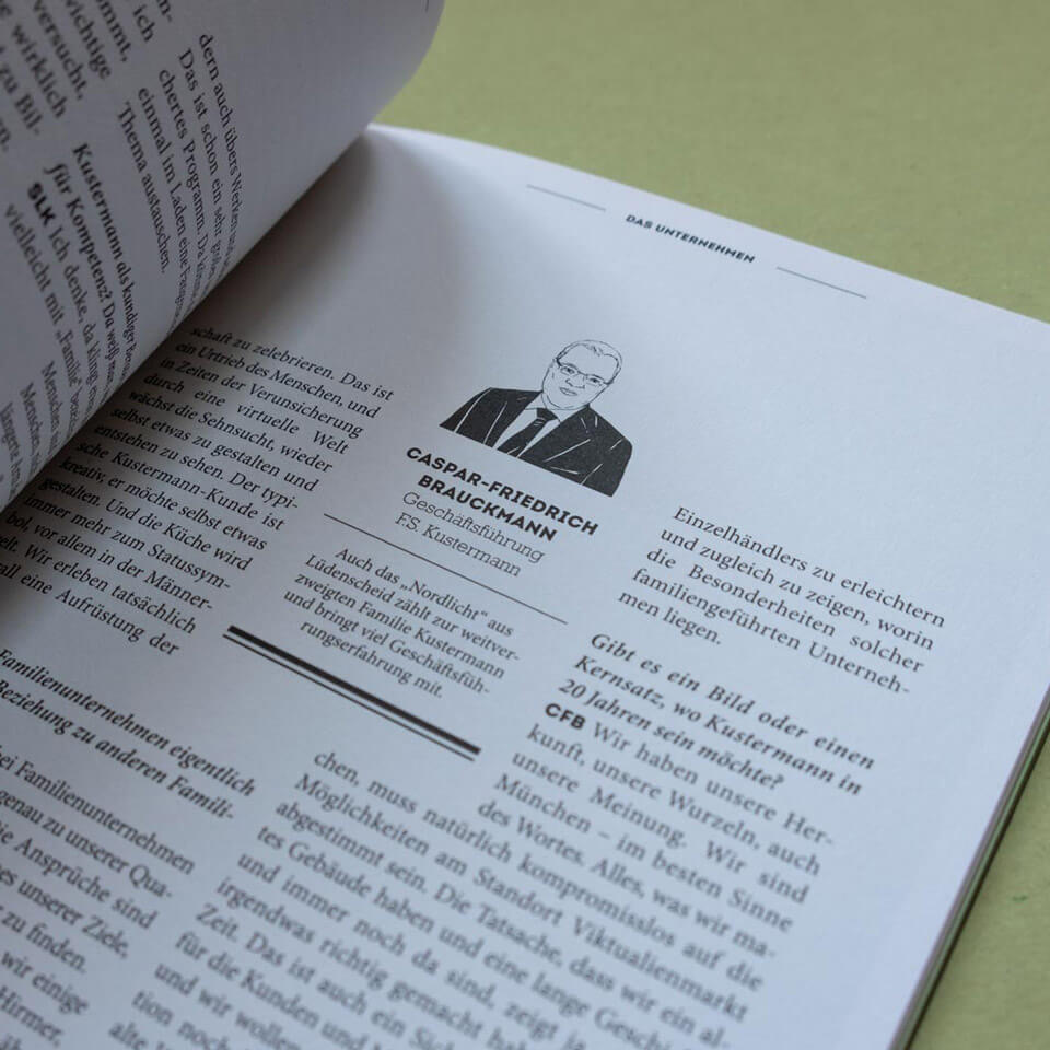 Closeup on an Interview Spread in the Kustermann Brochure