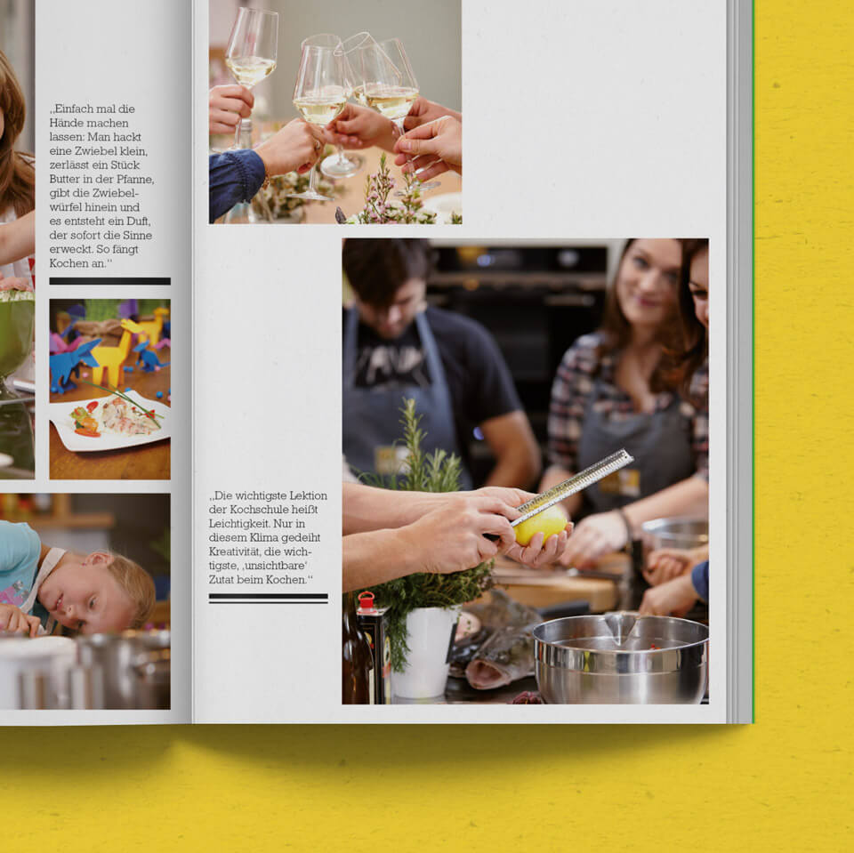 Closeup on a Spread full off Cooking Workshop Photographs in the Kustermann Brochure