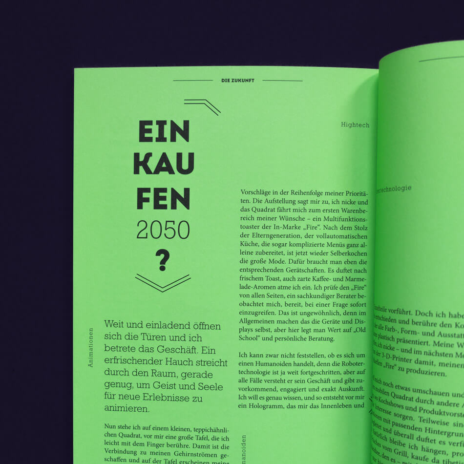 Closeup of the Future Chapter on neon Paper in the Kustermann Brochure.