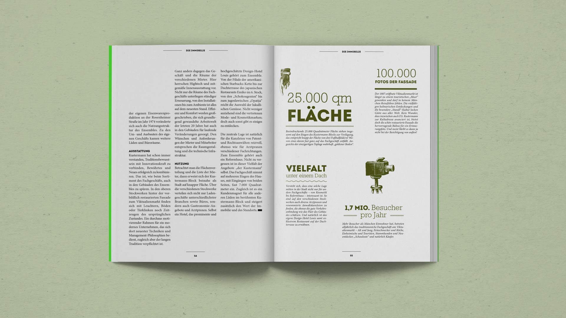 Text Spread with old illustrations in the Property Chapter in the Kustermann Brochure