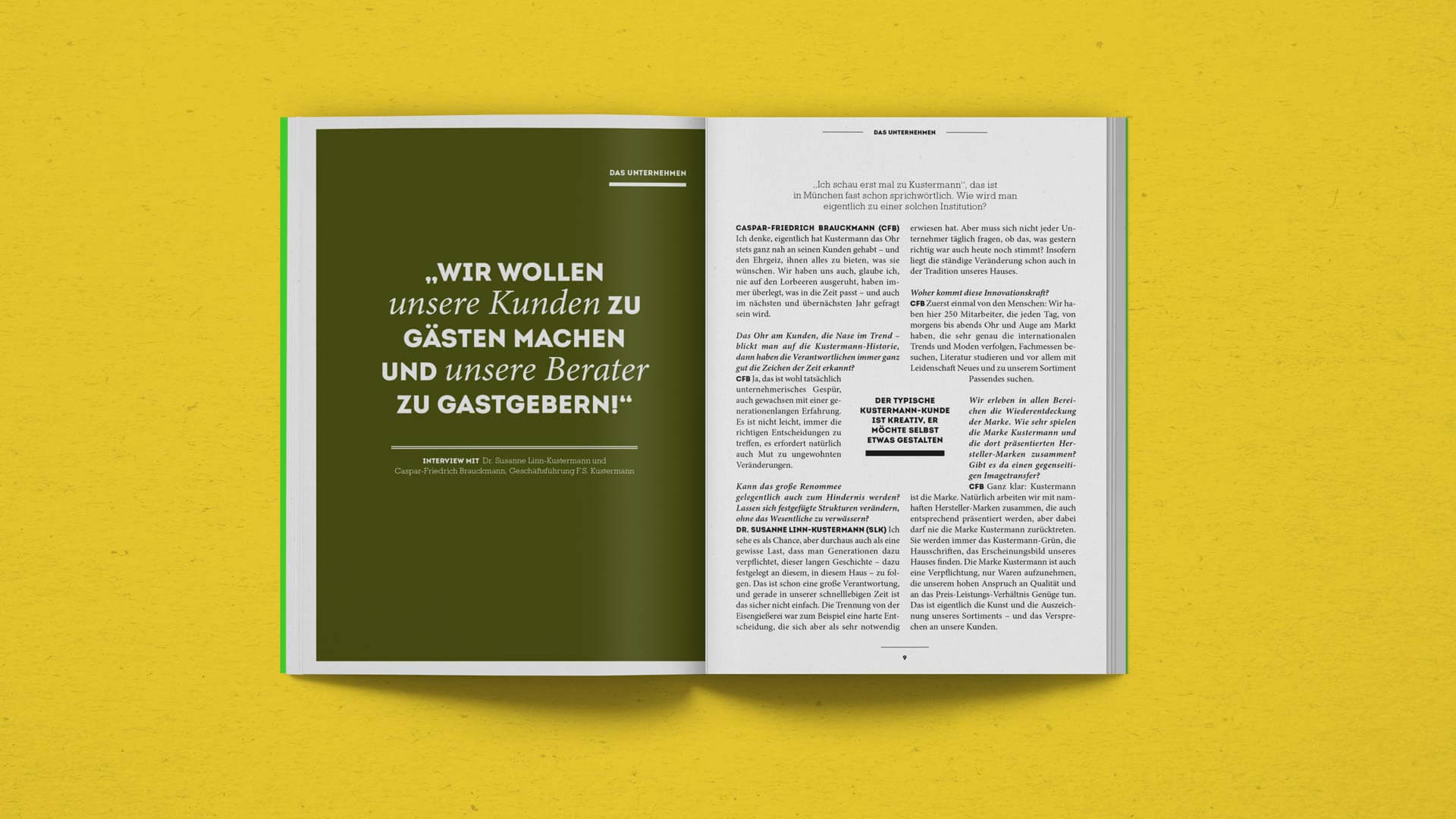 Interview Spread in the Kustermann Brochure