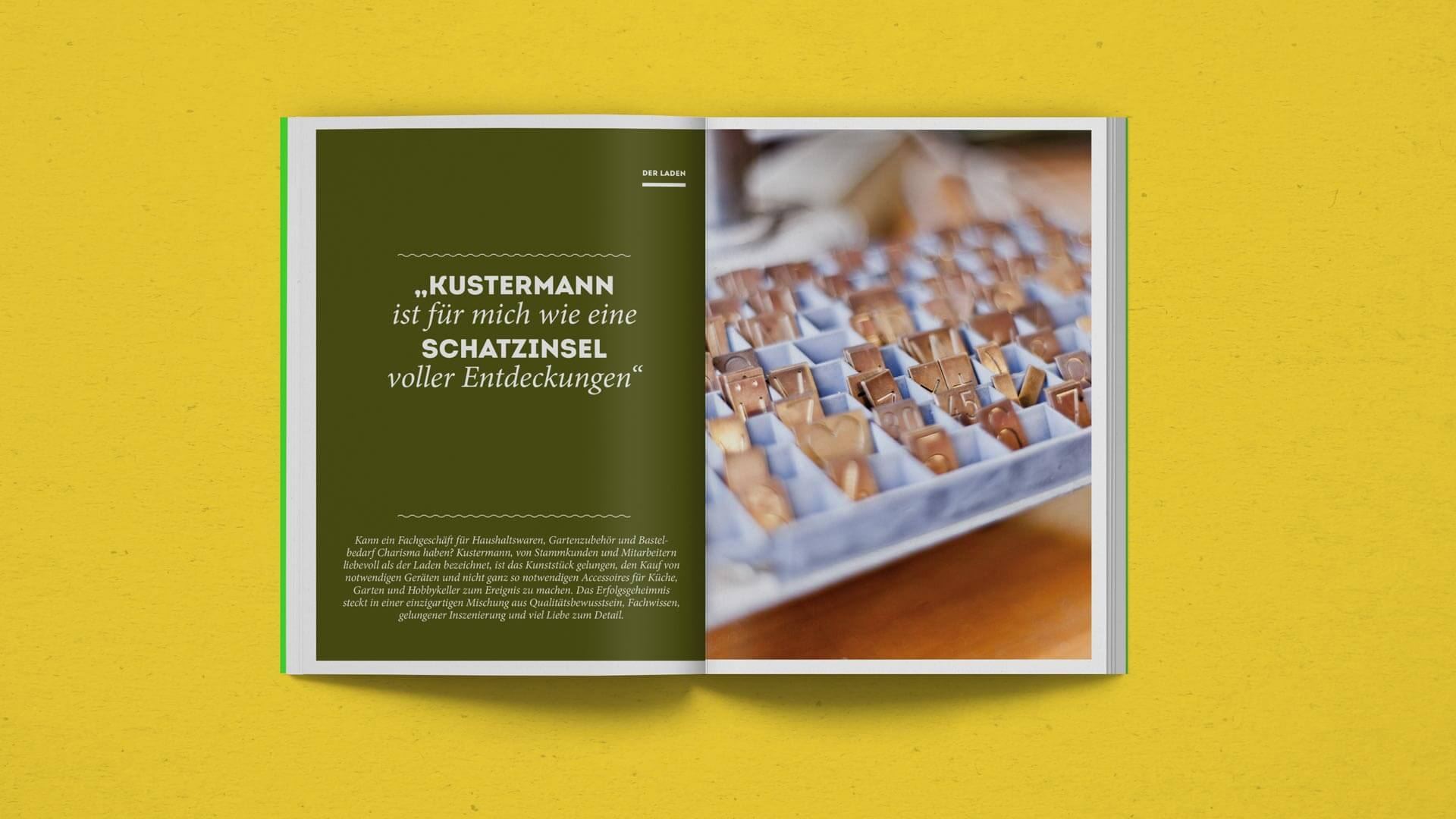 Title Spread of the Store Chapter in the Kustermann Brochure