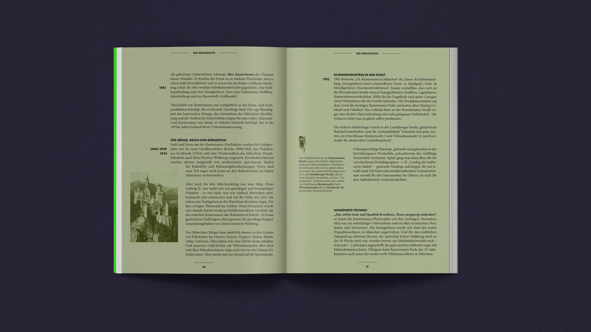 Text Spread of the History Chapter in the Kustermann Brochure