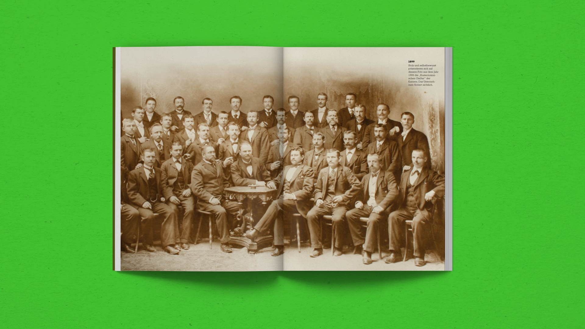 Spread with an old Team Picture in the History Chapter in the Kustermann Brochure