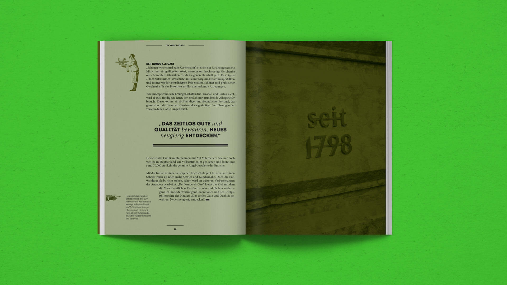Final Spread in the History Chapter in the Kustermann Brochure