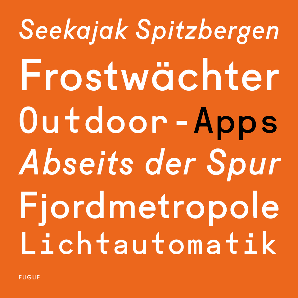 Sample of the Fugue Font. Typography used in the Outdoor Guide Magazine.