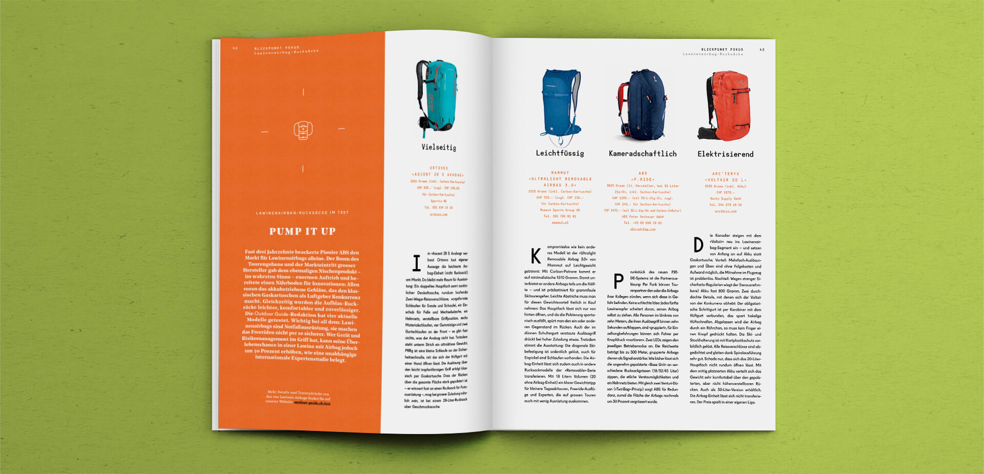 Spread with Products in the Outdoor Guide Magazine