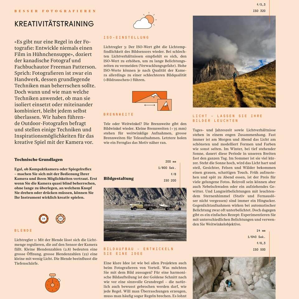 Page in Outdour Guide Magazine with informative Illustrations on the Topic Photography