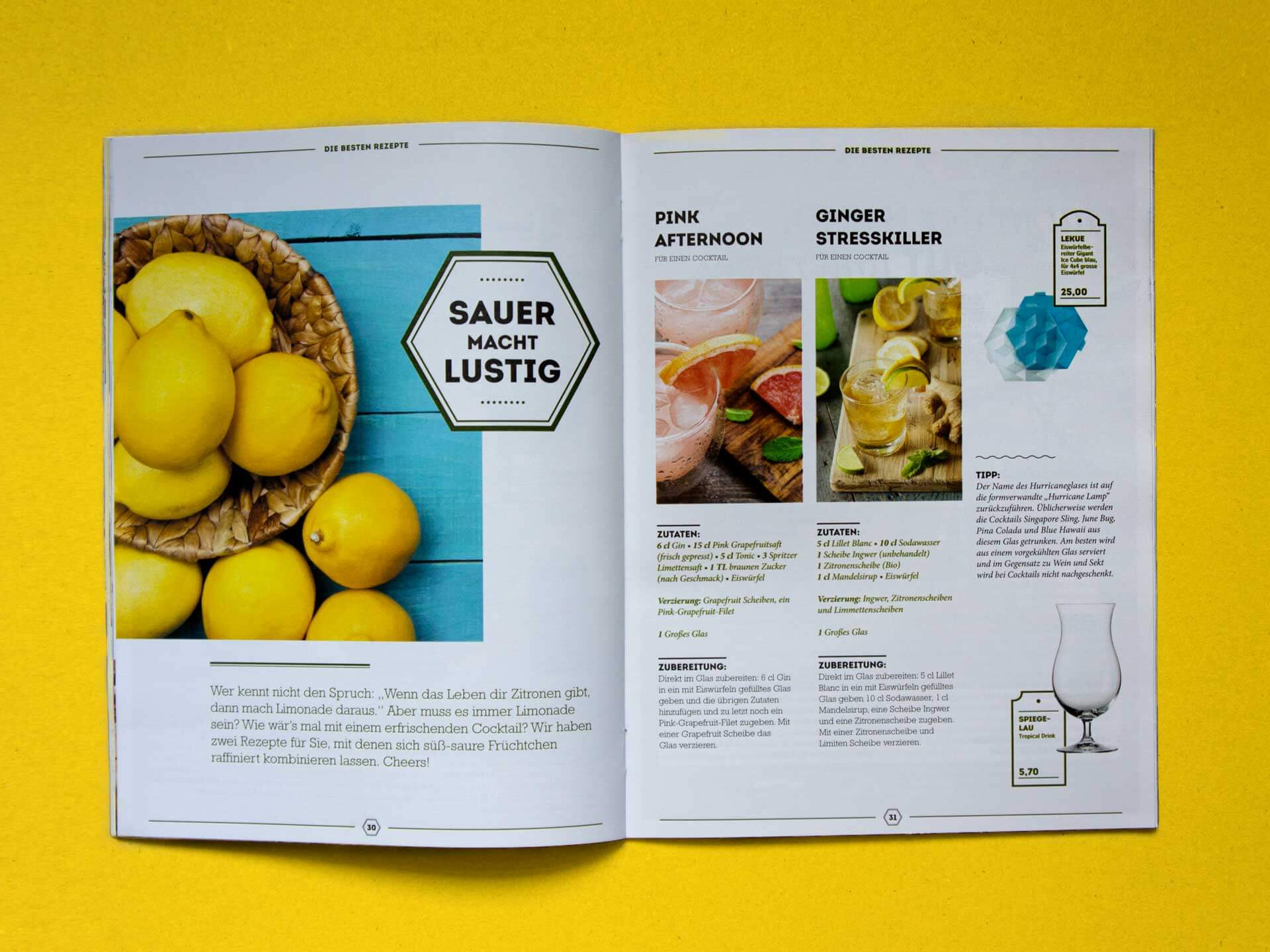 Spread with Cocktail Tipps inside the Seraph Magazine by Kustermann