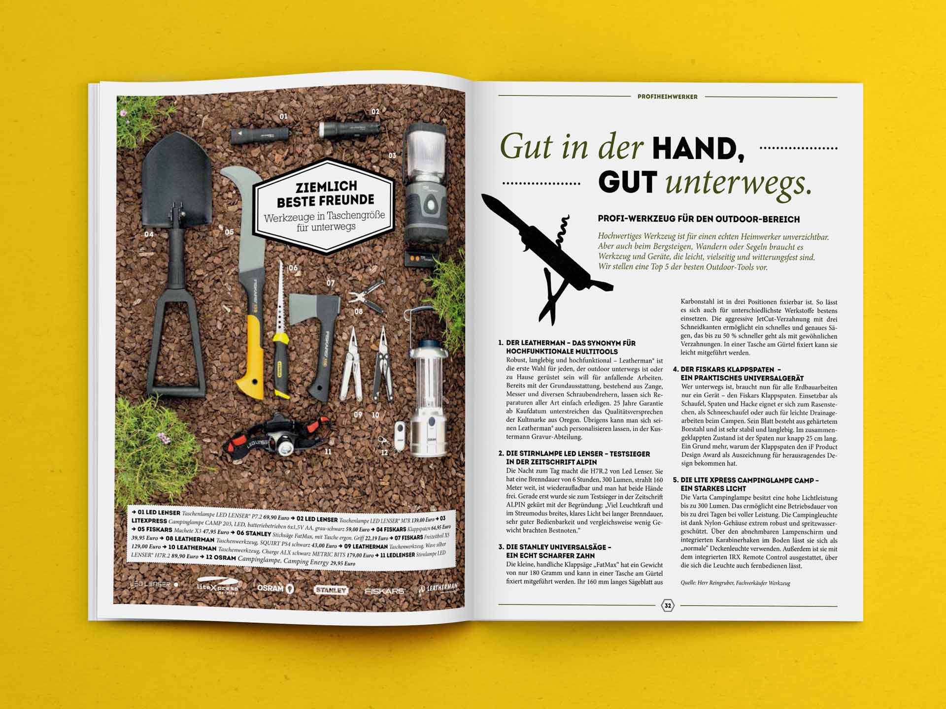 Spread with Garden Tools in the Seraph Magazine by Kustermann