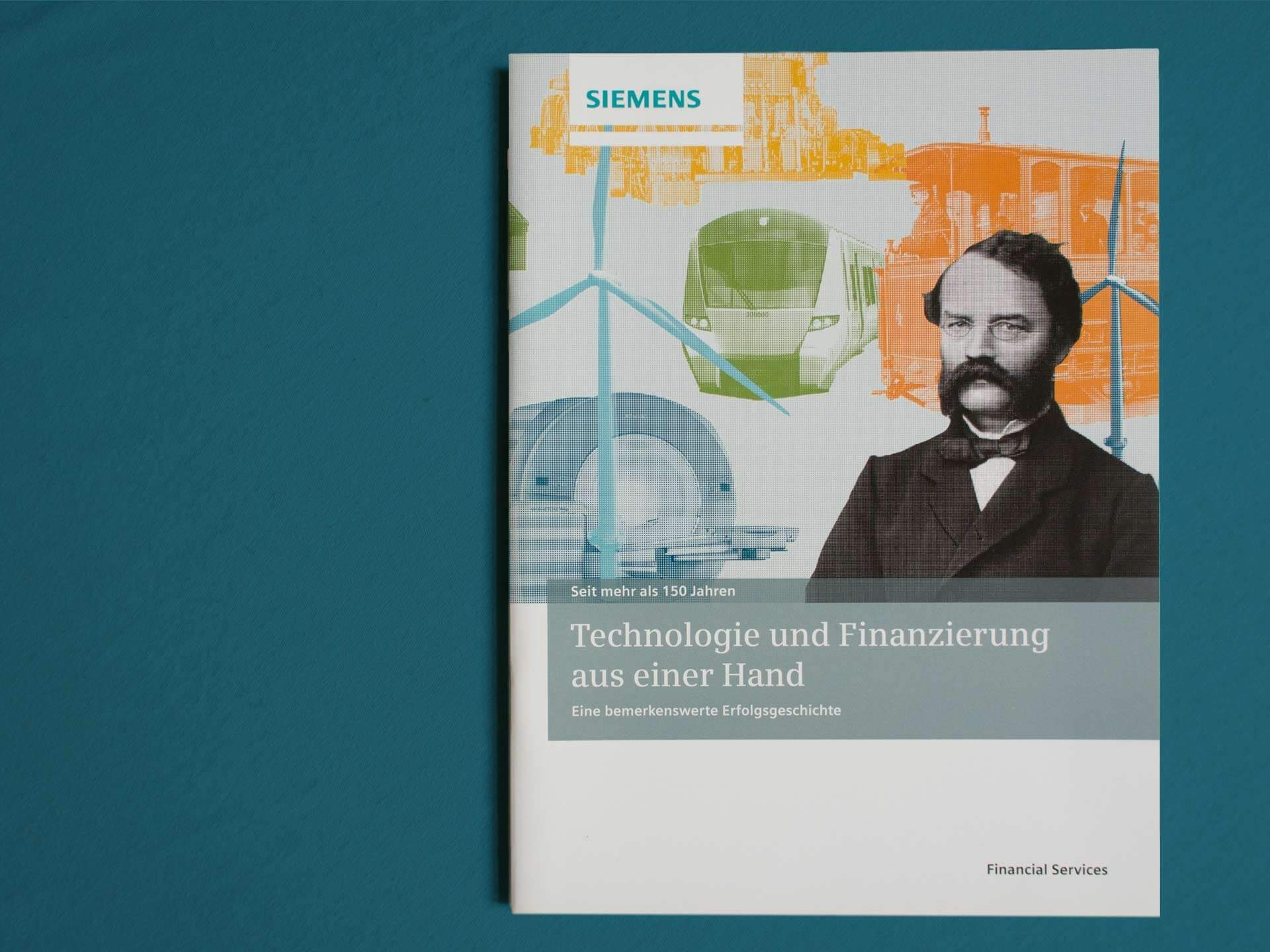Photo of History Brochure Cover für Siemens Financial Services. Collage of old and new Imagery and Werner von Siemens.