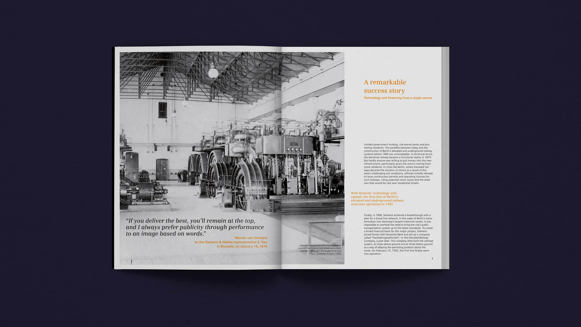 Spread with historical Image of Machines in the History Brochure für SFS.
