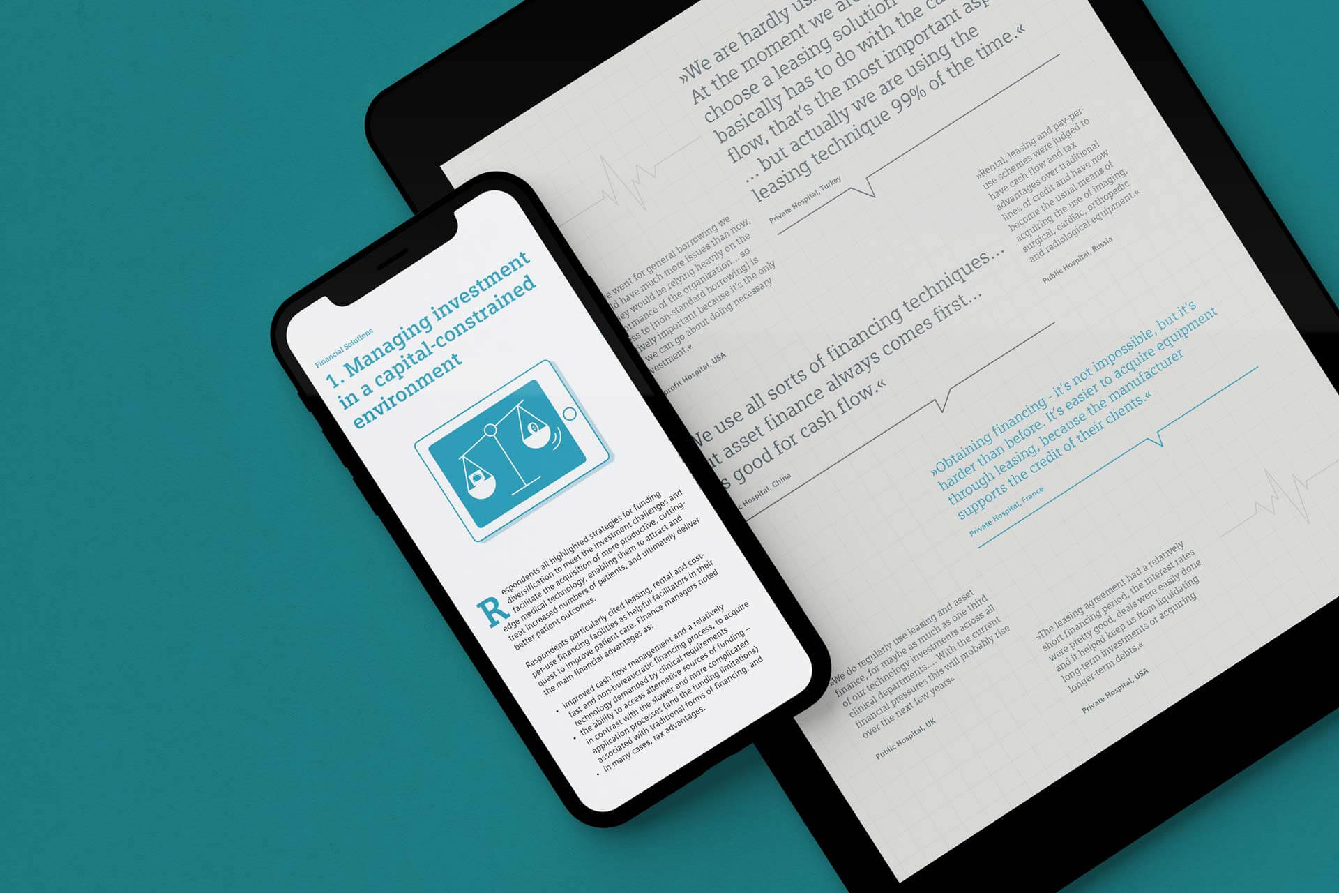 iPhone and iPad Mockup with Healthcare Illustrations for SFS