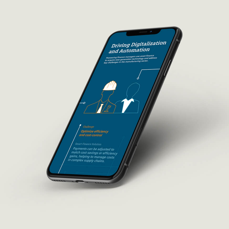 iPhone Mockup with an Illustration on the topic of Digitalization and Automation for SFS