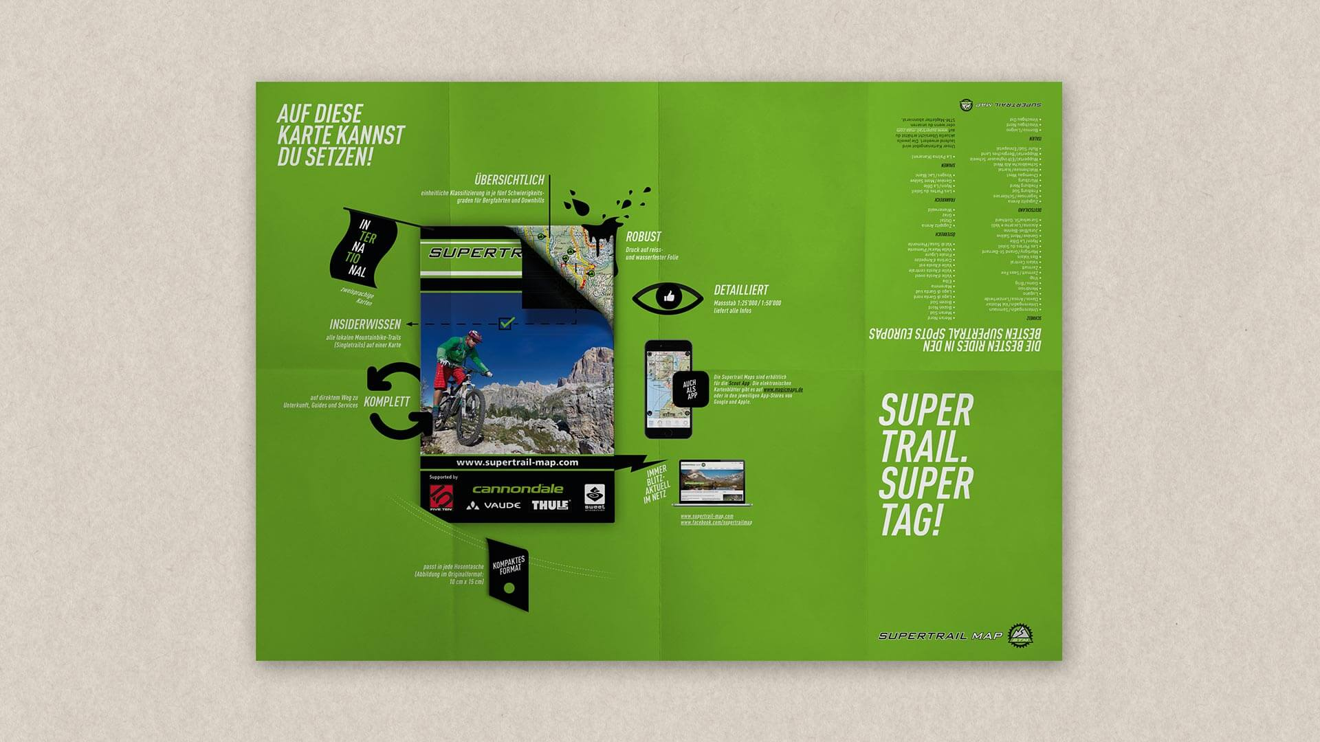 Mockup of a green Supertrail Guide Folded Flyer