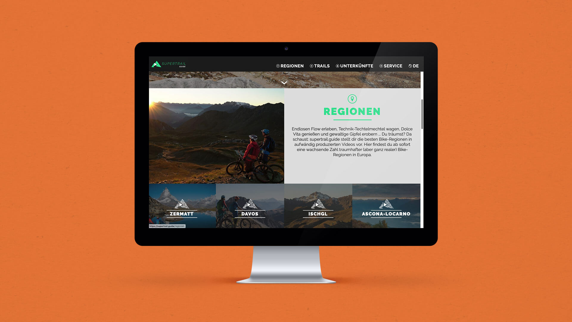 Mockup of the Landing Page of the Supertrail Guide Website