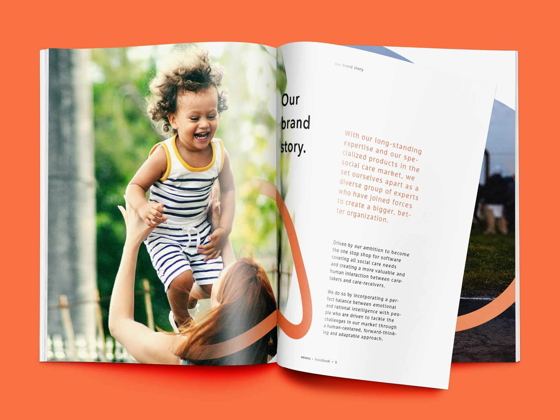 Spread with the Brand Story in the Brandbook for Omneva.