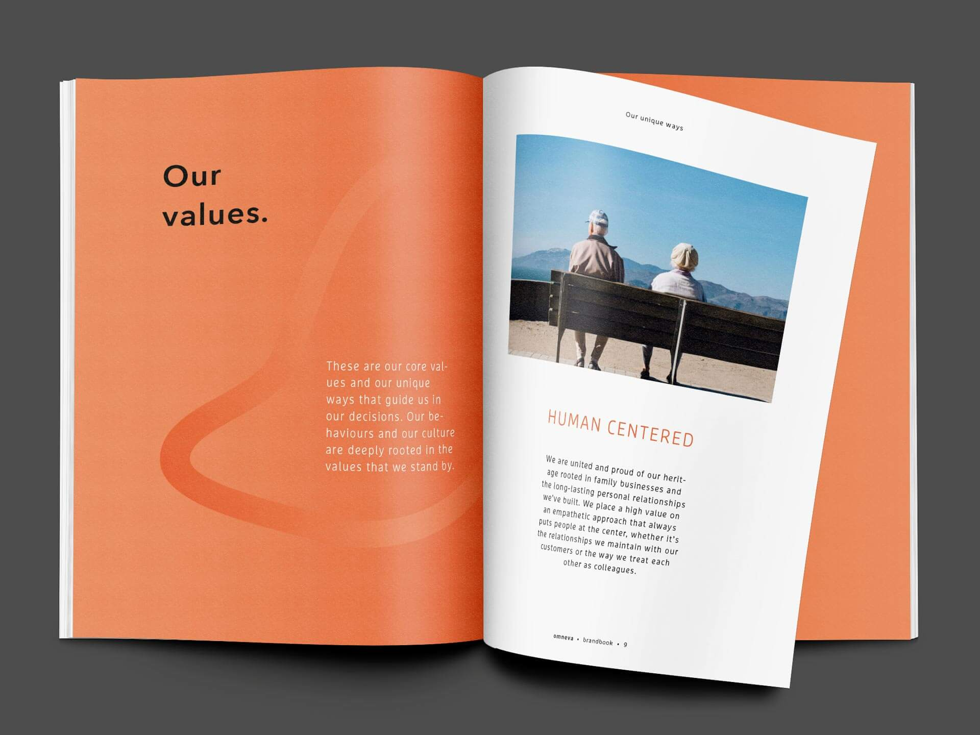 Spread with the Description of their Values in the Brandbook for Omneva.