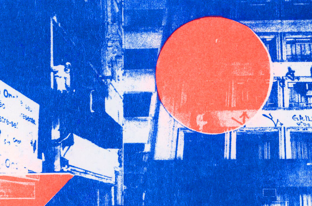 Risograph Print in Blue and Red. Photo of a blue building with a red dot on top.