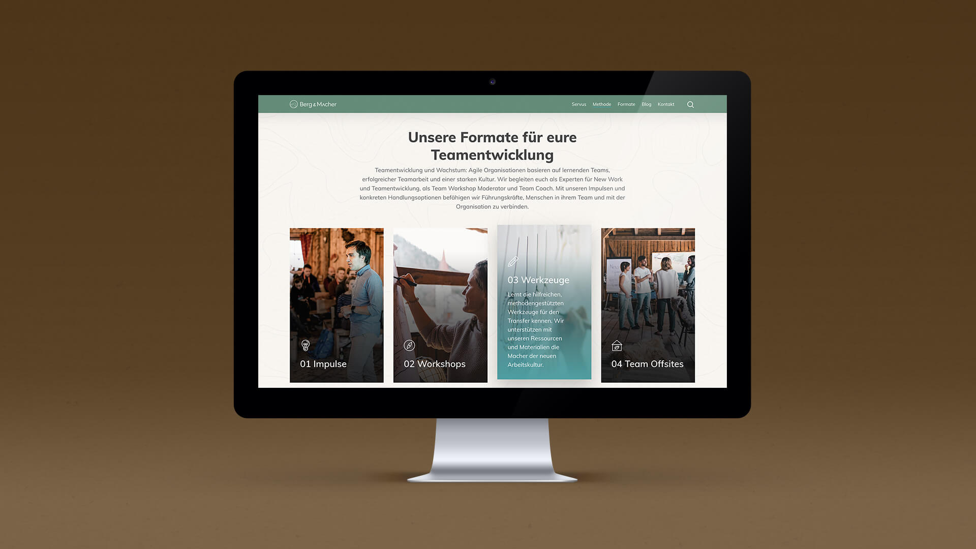 Mockup on iMac of the Berg und Macher Page