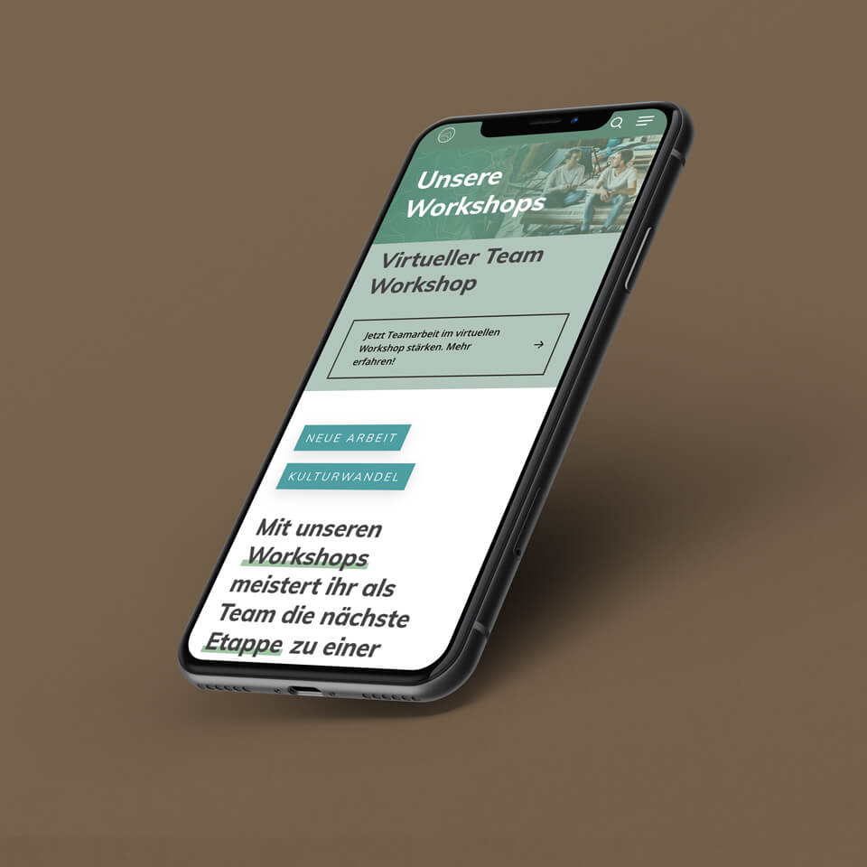 Mockup on iPhone of the Berg und Macher Page