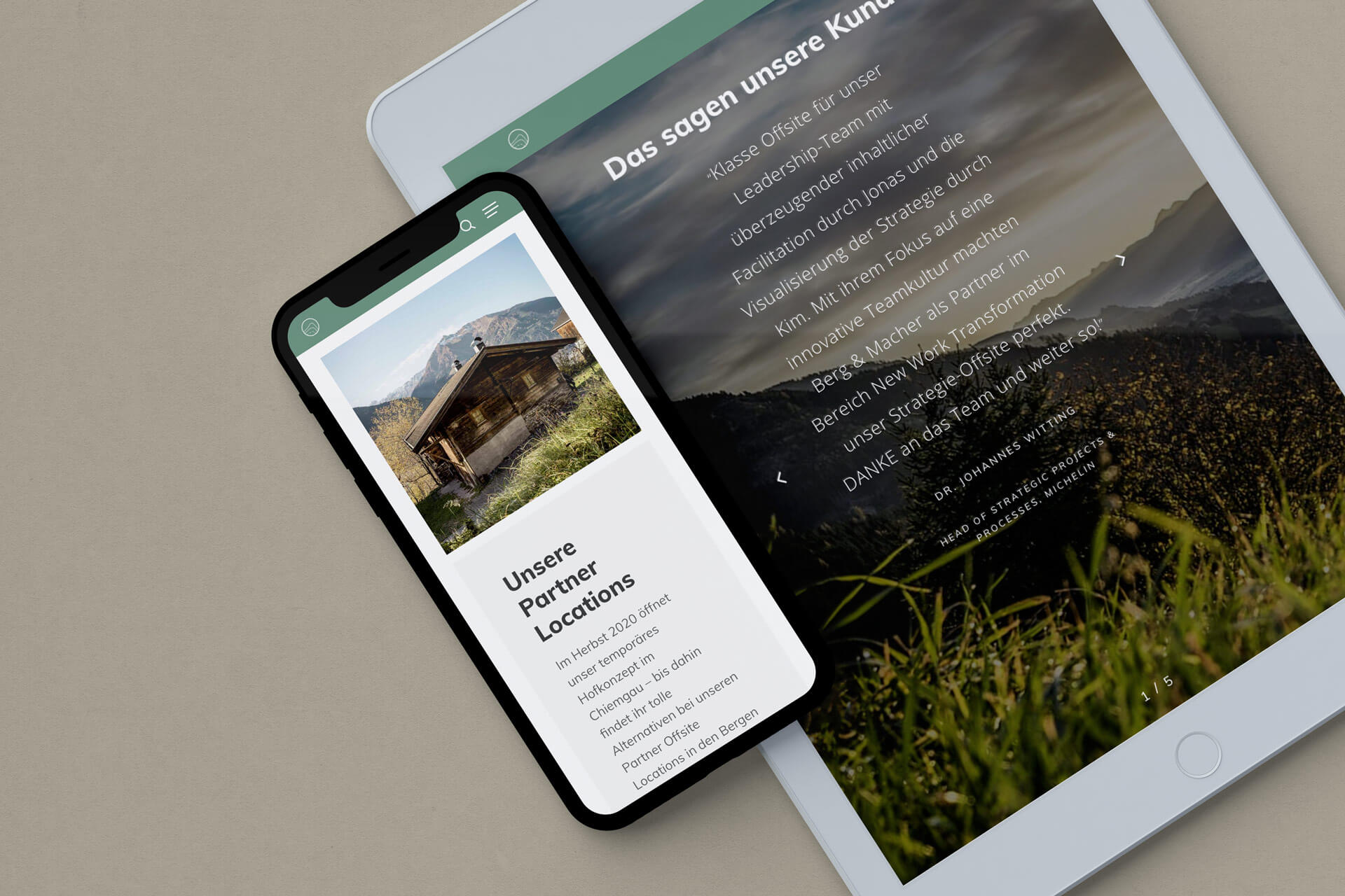 Mockup on iPad and iPhone of the Berg und Macher Page